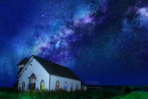 Abandoned church at Night with the Milky Way.