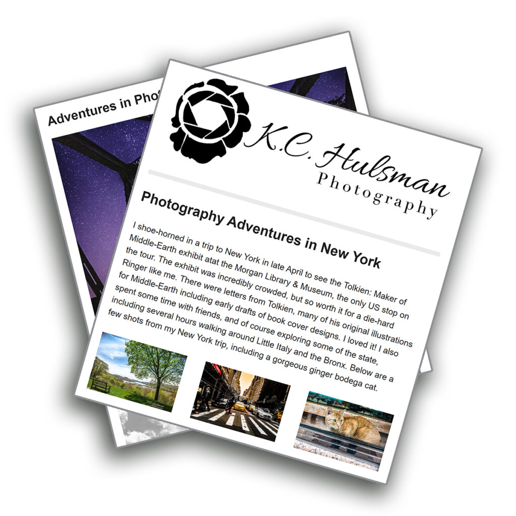 Image preview of overlapping KC Hulsman Photography newsletters