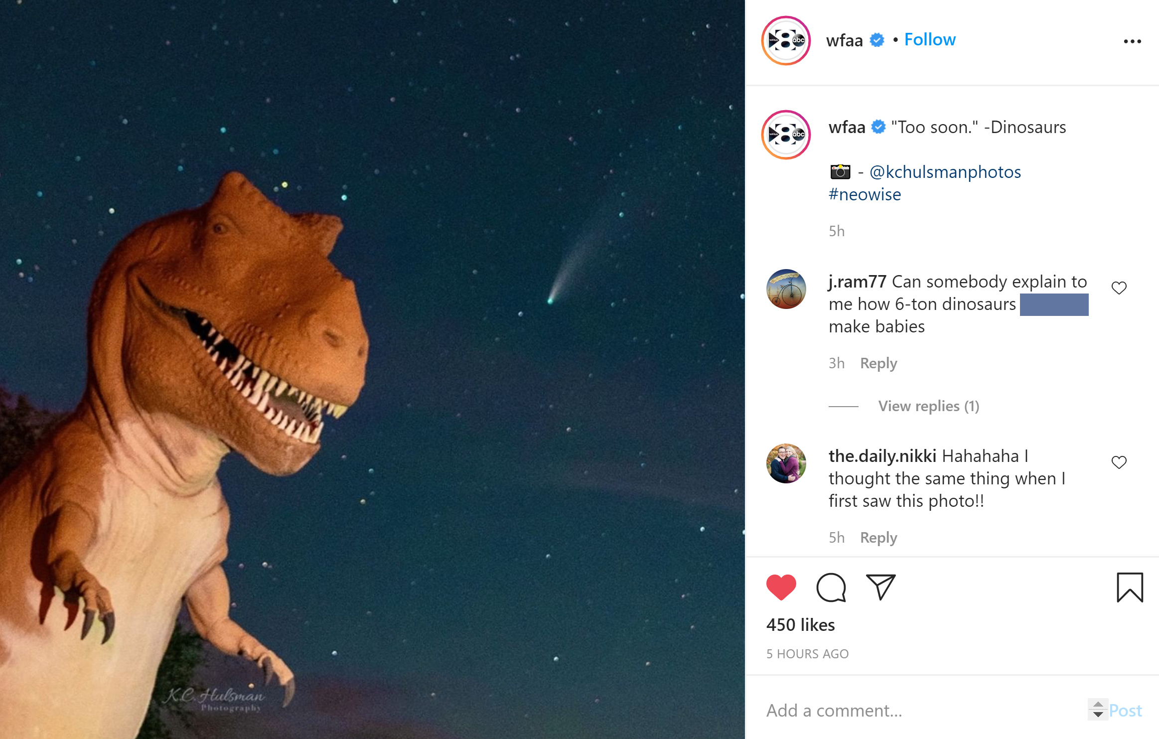 Social Media Screenshot from WFAA featuring their post of KC Hulsman's photograph of Comet Neowise and a Sinclair Dinosaur Statue